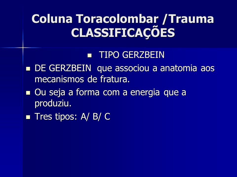 Coluna Toracolombar /Trauma CLASSIFICAÇÕES TIPO GERZBEIN TIPO GERZBEIN DE GERZBEIN que associou a anatomia aos mecanismos de fratura.