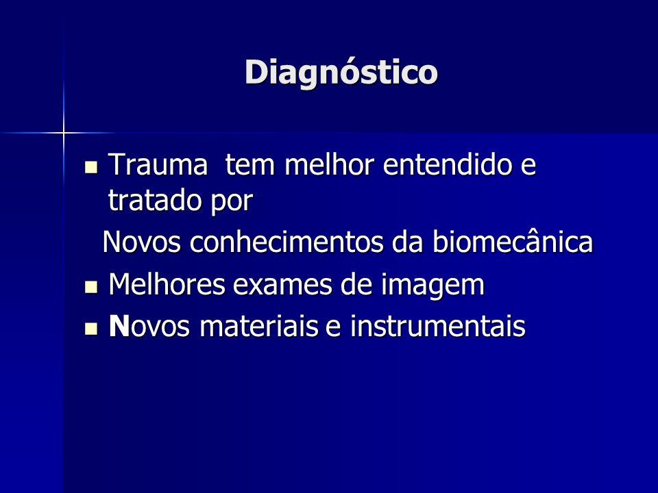 Diagnóstico Trauma tem melhor entendido e tratado por Trauma tem melhor entendido e tratado por Novos conhecimentos da biomecânica Melhores exames de imagem Melhores exames de imagem Novos materiais e instrumentais Novos materiais e instrumentais
