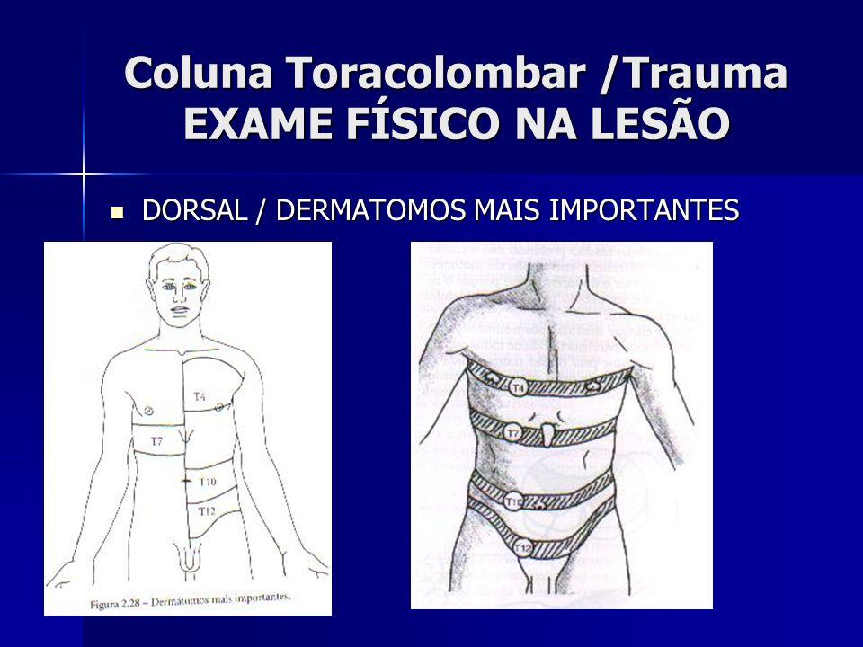 Coluna Toracolombar /Trauma EXAME FÍSICO NA LESÃO DORSAL / DERMATOMOS MAIS IMPORTANTES DORSAL / DERMATOMOS MAIS IMPORTANTES