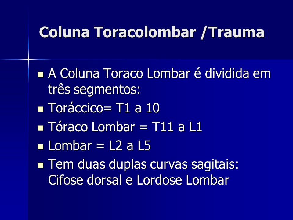 Coluna Toracolombar /Trauma A Coluna Toraco Lombar é dividida em três segmentos: A Coluna Toraco Lombar é dividida em três segmentos: Toráccico= T1 a 10 Toráccico= T1 a 10 Tóraco Lombar = T11 a L1 Tóraco Lombar = T11 a L1 Lombar = L2 a L5 Lombar = L2 a L5 Tem duas duplas curvas sagitais: Cifose dorsal e Lordose Lombar Tem duas duplas curvas sagitais: Cifose dorsal e Lordose Lombar