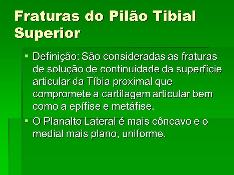 Fraturas do Pilão Tibial Superior Definição: São consideradas as fraturas de solução de continuidade da superfície articular da Tíbia proximal que com