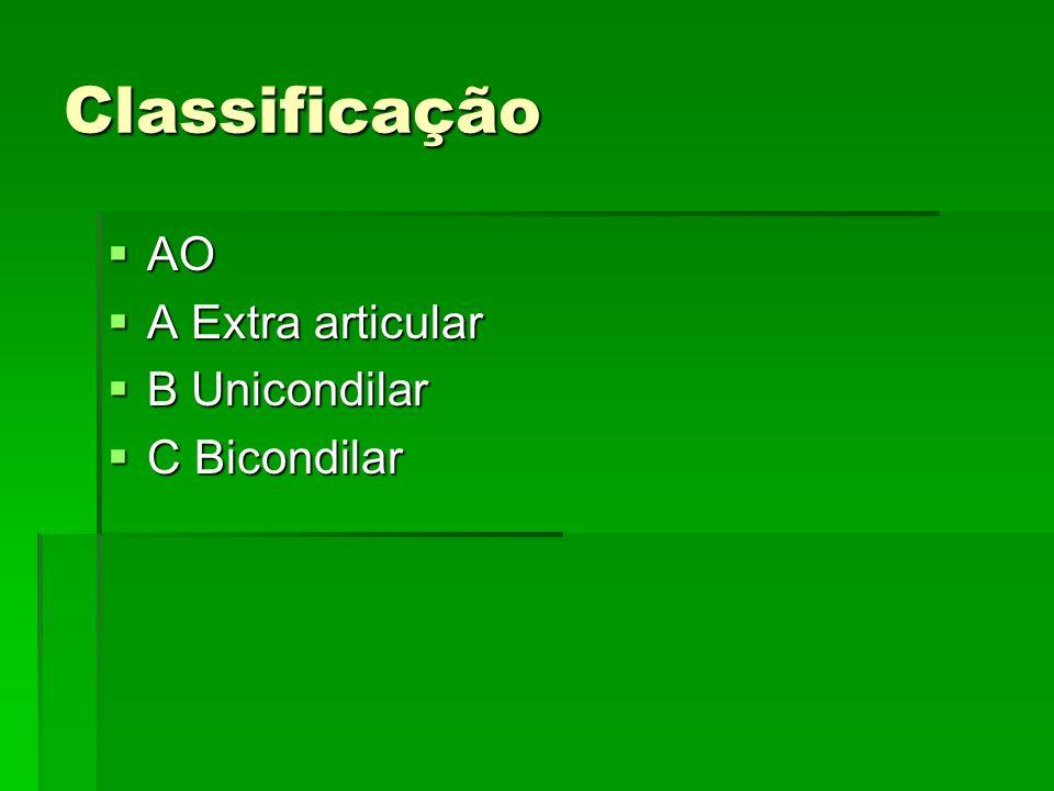 Classificação AO AO A Extra articular A Extra articular B Unicondilar B Unicondilar C Bicondilar C Bicondilar