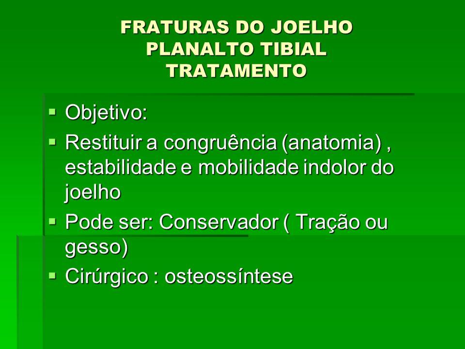 FRATURAS DO JOELHO PLANALTO TIBIAL TRATAMENTO Objetivo: Objetivo: Restituir a congruência (anatomia), estabilidade e mobilidade indolor do joelho Rest