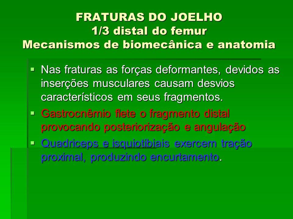 FRATURAS DO JOELHO 1/3 distal do femur Mecanismos de biomecânica e anatomia Nas fraturas as forças deformantes, devidos as inserções musculares causam