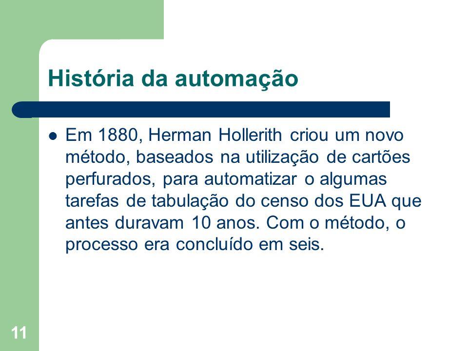 11 História da automação Em 1880, Herman Hollerith criou um novo método, baseados na utilização de cartões perfurados, para automatizar o algumas tare