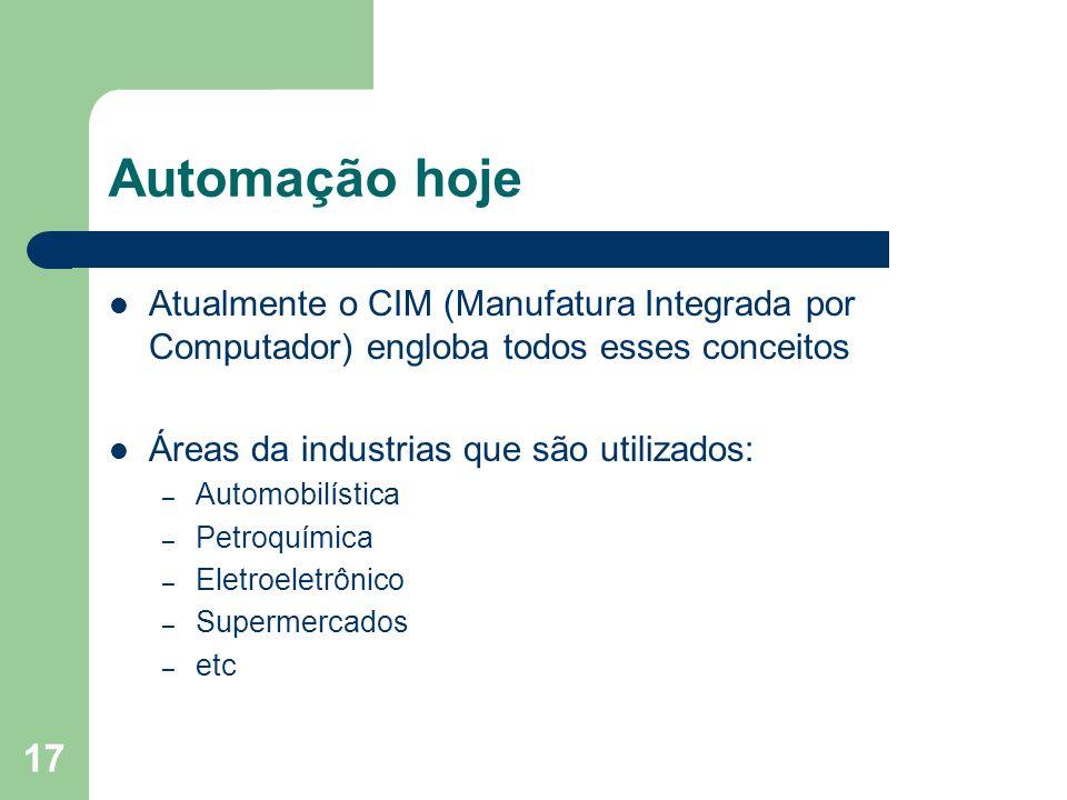 17 Automação hoje Atualmente o CIM (Manufatura Integrada por Computador) engloba todos esses conceitos Áreas da industrias que são utilizados: – Autom
