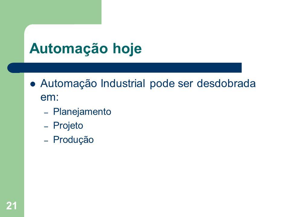 21 Automação hoje Automação Industrial pode ser desdobrada em: – Planejamento – Projeto – Produção
