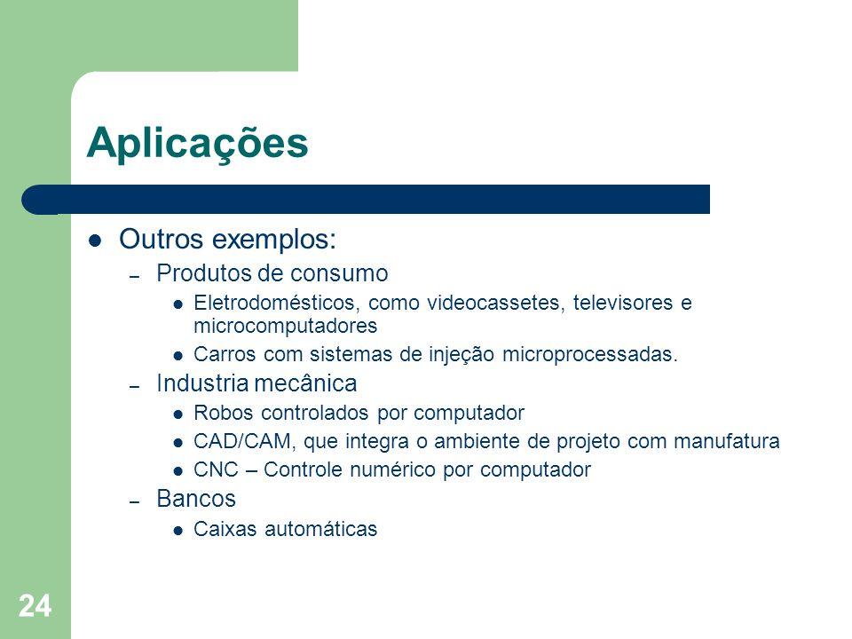 24 Aplicações Outros exemplos: – Produtos de consumo Eletrodomésticos, como videocassetes, televisores e microcomputadores Carros com sistemas de inje
