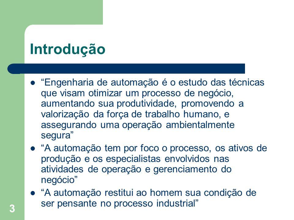 3 Introdução Engenharia de automação é o estudo das técnicas que visam otimizar um processo de negócio, aumentando sua produtividade, promovendo a val