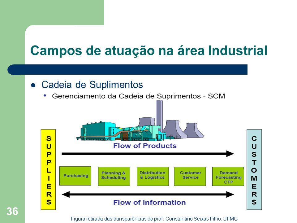 36 Campos de atuação na área Industrial Cadeia de Suplimentos Figura retirada das transparências do prof. Constantino Seixas Filho. UFMG