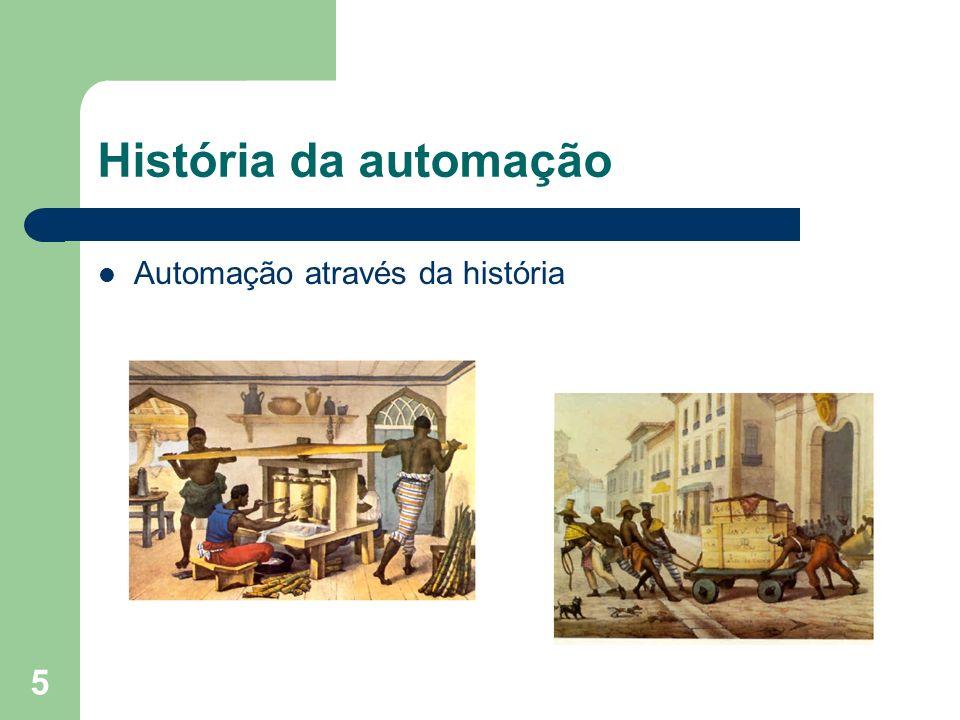 6 História da automação Desde de a pré-história, o homem se preocupa em poupar o esforço: – Invenção da roda – Moinho de vento – Uso de força animal – Rodas d`aguas
