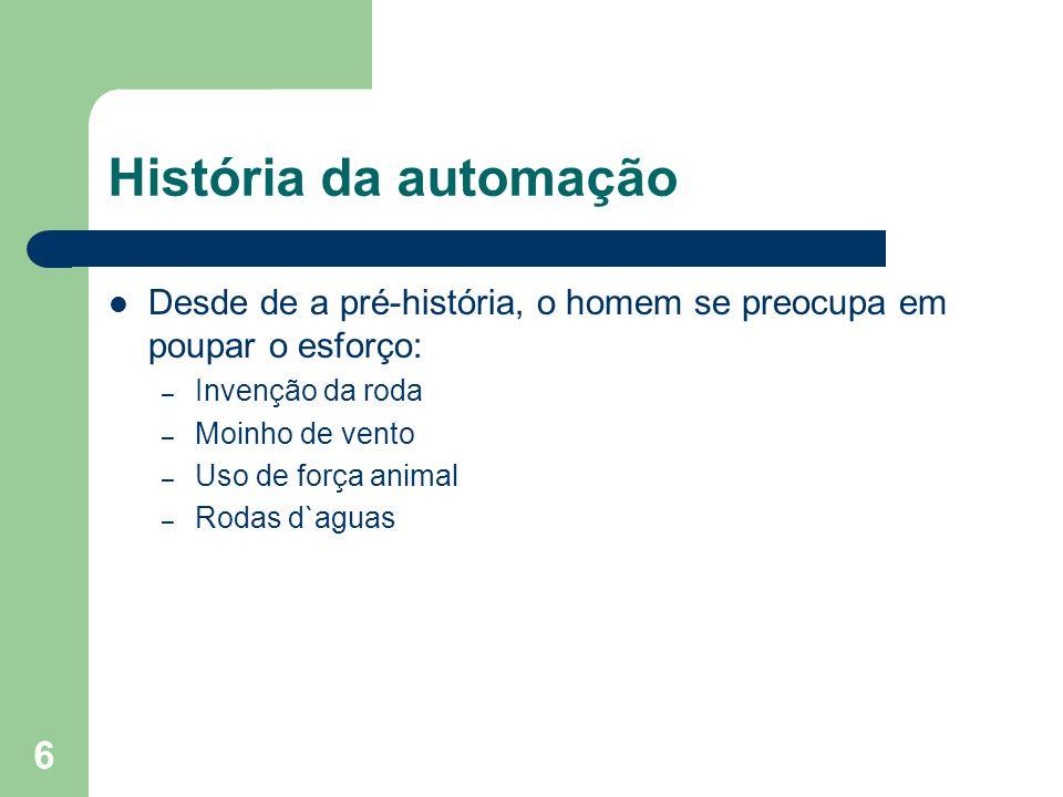 6 História da automação Desde de a pré-história, o homem se preocupa em poupar o esforço: – Invenção da roda – Moinho de vento – Uso de força animal –