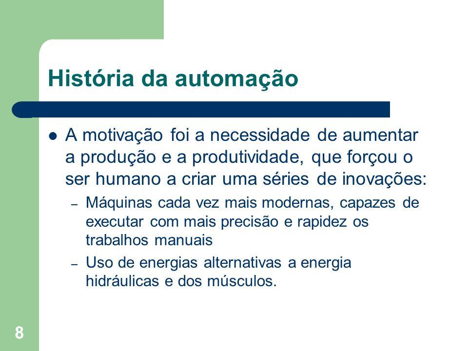 8 História da automação A motivação foi a necessidade de aumentar a produção e a produtividade, que forçou o ser humano a criar uma séries de inovaçõe