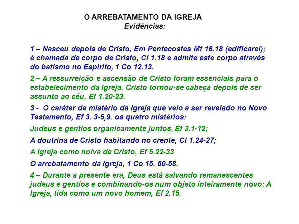 1 – Nasceu depois de Cristo, Em Pentecostes Mt 16.18 (edificarei); é chamada de corpo de Cristo, Cl 1.18 e admite este corpo através do batismo no Esp