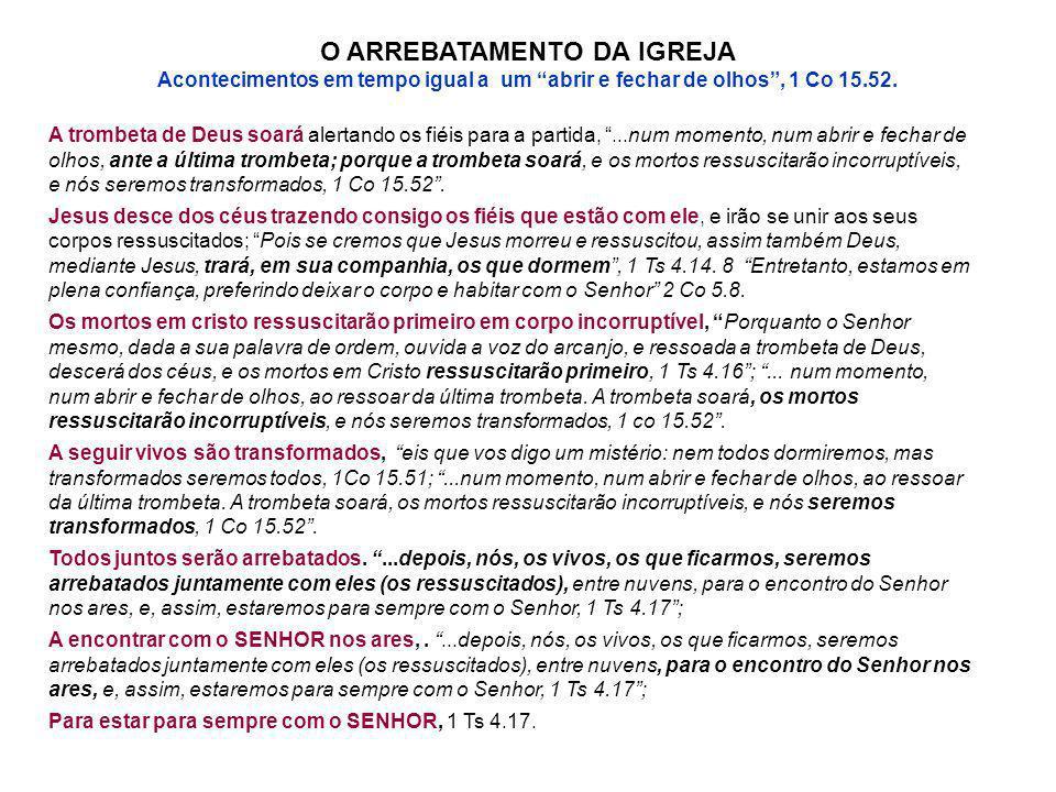 O ARREBATAMENTO DA IGREJA Acontecimentos em tempo igual a um abrir e fechar de olhos, 1 Co 15.52. A trombeta de Deus soará alertando os fiéis para a p