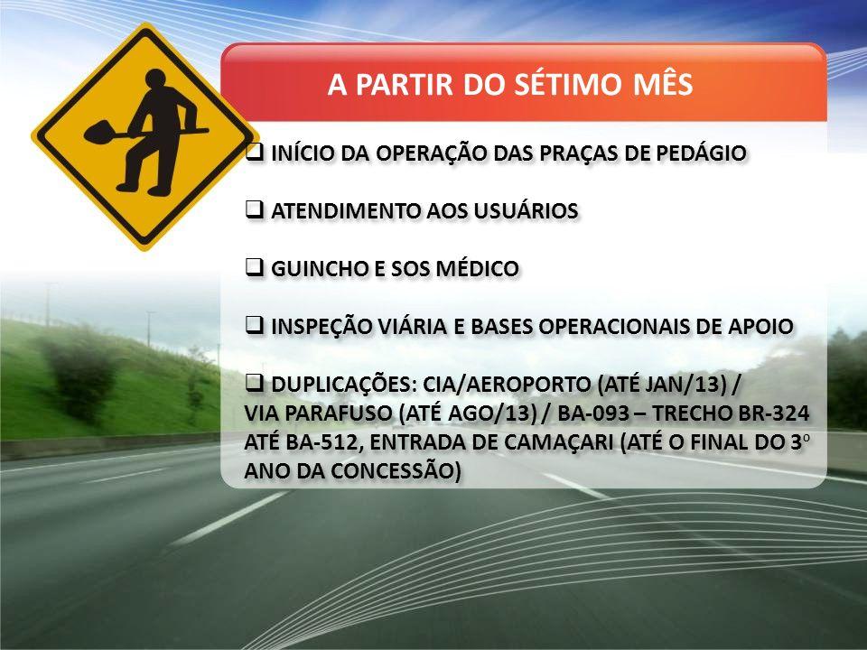 INÍCIO DA OPERAÇÃO DAS PRAÇAS DE PEDÁGIO ATENDIMENTO AOS USUÁRIOS GUINCHO E SOS MÉDICO INSPEÇÃO VIÁRIA E BASES OPERACIONAIS DE APOIO DUPLICAÇÕES: CIA/AEROPORTO (ATÉ JAN/13) / VIA PARAFUSO (ATÉ AGO/13) / BA-093 – TRECHO BR-324 ATÉ BA-512, ENTRADA DE CAMAÇARI (ATÉ O FINAL DO 3 O ANO DA CONCESSÃO) INÍCIO DA OPERAÇÃO DAS PRAÇAS DE PEDÁGIO ATENDIMENTO AOS USUÁRIOS GUINCHO E SOS MÉDICO INSPEÇÃO VIÁRIA E BASES OPERACIONAIS DE APOIO DUPLICAÇÕES: CIA/AEROPORTO (ATÉ JAN/13) / VIA PARAFUSO (ATÉ AGO/13) / BA-093 – TRECHO BR-324 ATÉ BA-512, ENTRADA DE CAMAÇARI (ATÉ O FINAL DO 3 O ANO DA CONCESSÃO) A PARTIR DO SÉTIMO MÊS