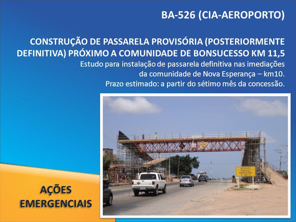 BA-526 (CIA-AEROPORTO) CONSTRUÇÃO DE PASSARELA PROVISÓRIA (POSTERIORMENTE DEFINITIVA) PRÓXIMO A COMUNIDADE DE BONSUCESSO KM 11,5 Estudo para instalação de passarela definitiva nas imediações da comunidade de Nova Esperança – km10.