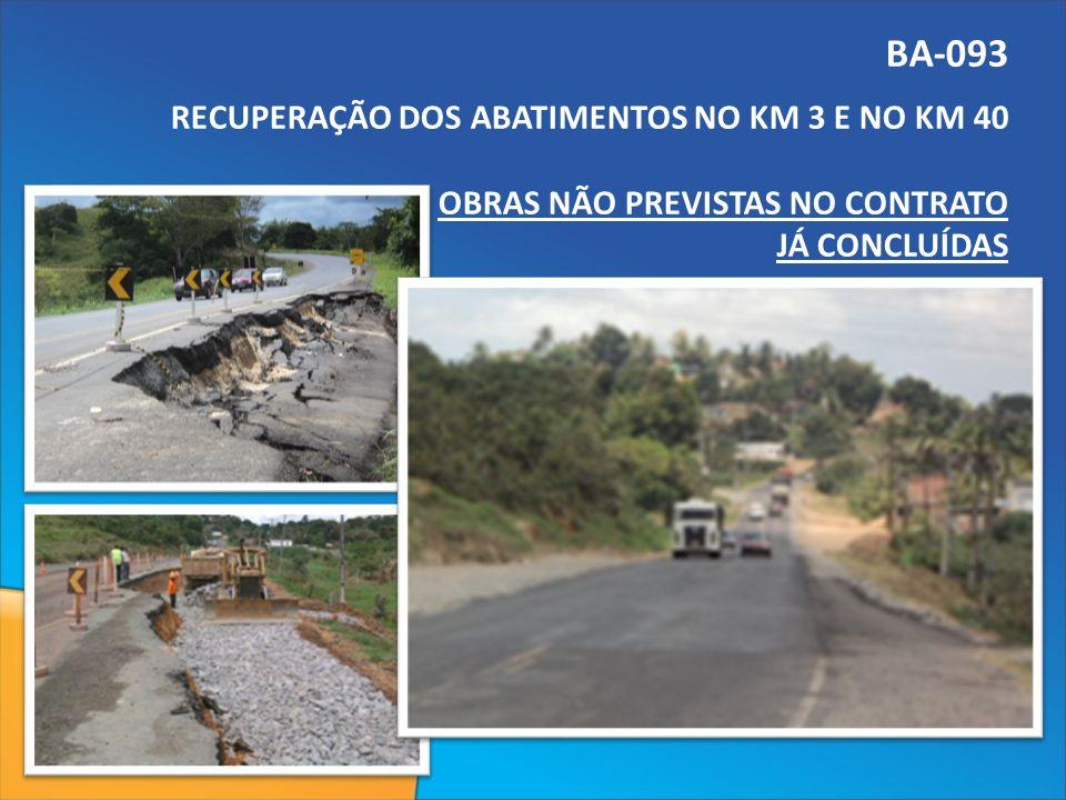 BA-093 RECUPERAÇÃO DOS ABATIMENTOS NO KM 3 E NO KM 40 OBRAS NÃO PREVISTAS NO CONTRATO JÁ CONCLUÍDAS