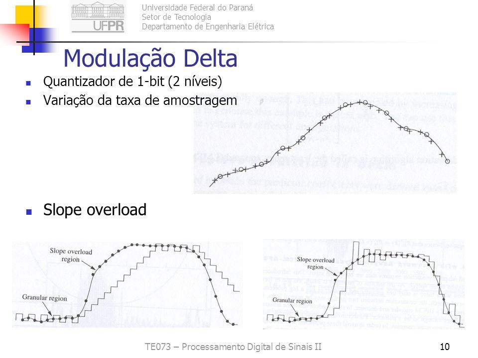 Universidade Federal do Paraná Setor de Tecnologia Departamento de Engenharia Elétrica TE073 – Processamento Digital de Sinais II10 Modulação Delta Qu