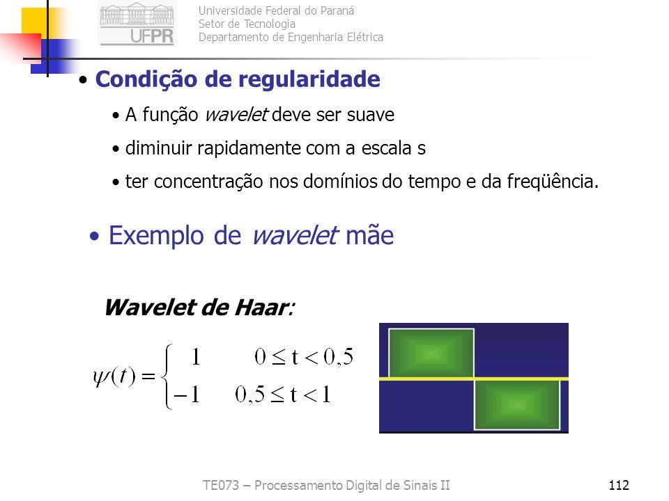 Universidade Federal do Paraná Setor de Tecnologia Departamento de Engenharia Elétrica TE073 – Processamento Digital de Sinais II112 Condição de regul