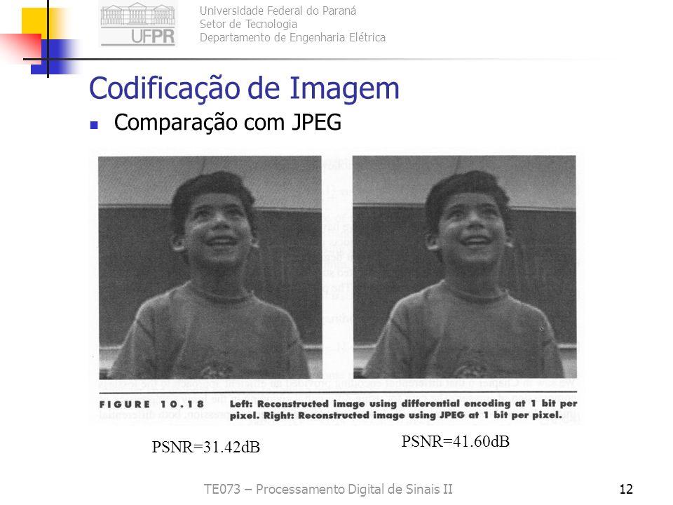 Universidade Federal do Paraná Setor de Tecnologia Departamento de Engenharia Elétrica TE073 – Processamento Digital de Sinais II12 Codificação de Ima