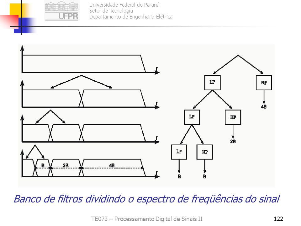 Universidade Federal do Paraná Setor de Tecnologia Departamento de Engenharia Elétrica TE073 – Processamento Digital de Sinais II122 Banco de filtros