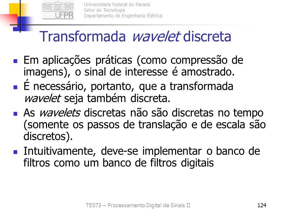 Universidade Federal do Paraná Setor de Tecnologia Departamento de Engenharia Elétrica TE073 – Processamento Digital de Sinais II124 Transformada wave