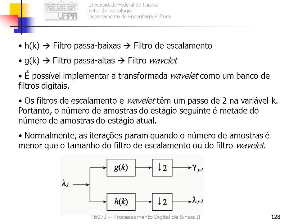 Universidade Federal do Paraná Setor de Tecnologia Departamento de Engenharia Elétrica TE073 – Processamento Digital de Sinais II128 h(k) Filtro passa