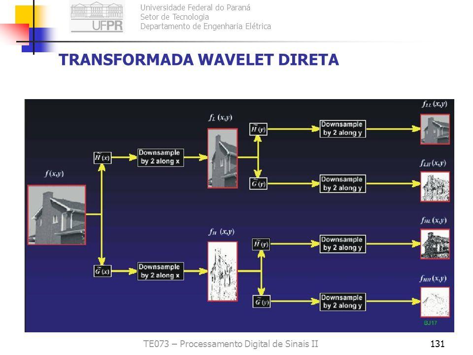 Universidade Federal do Paraná Setor de Tecnologia Departamento de Engenharia Elétrica TE073 – Processamento Digital de Sinais II131 TRANSFORMADA WAVE