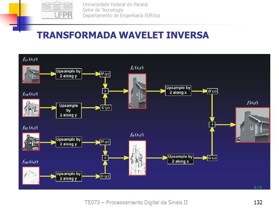 Universidade Federal do Paraná Setor de Tecnologia Departamento de Engenharia Elétrica TE073 – Processamento Digital de Sinais II132 TRANSFORMADA WAVE