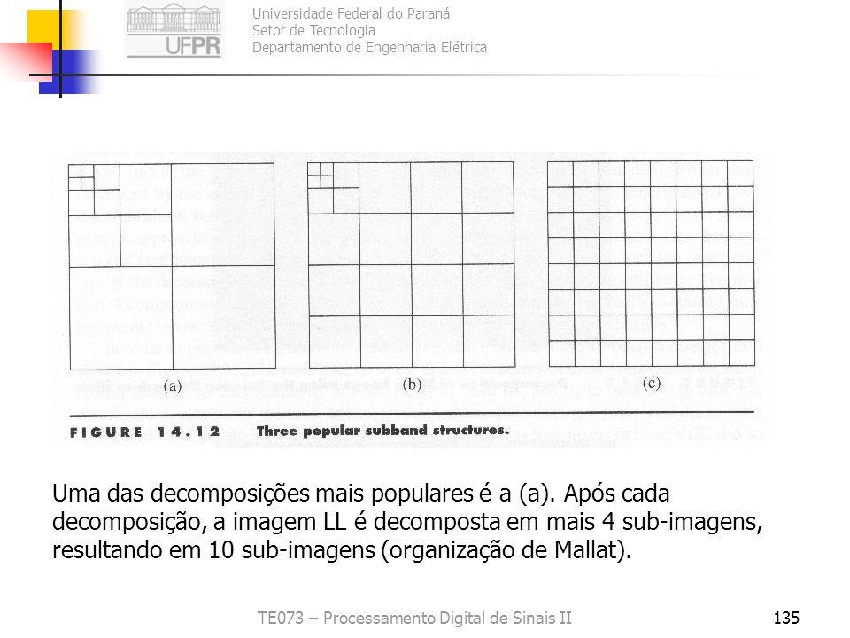 Universidade Federal do Paraná Setor de Tecnologia Departamento de Engenharia Elétrica TE073 – Processamento Digital de Sinais II135 Uma das decomposi