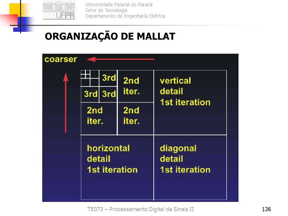 Universidade Federal do Paraná Setor de Tecnologia Departamento de Engenharia Elétrica TE073 – Processamento Digital de Sinais II136 ORGANIZAÇÃO DE MA