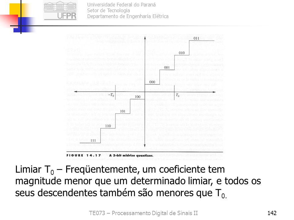Universidade Federal do Paraná Setor de Tecnologia Departamento de Engenharia Elétrica TE073 – Processamento Digital de Sinais II142 Limiar T 0 – Freq