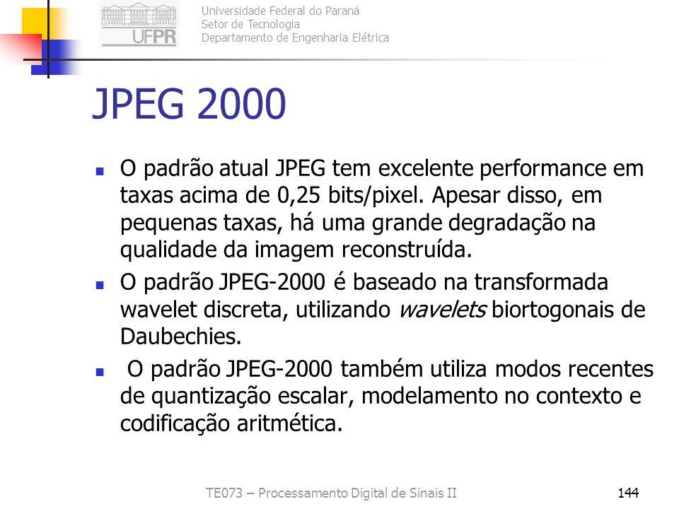 Universidade Federal do Paraná Setor de Tecnologia Departamento de Engenharia Elétrica TE073 – Processamento Digital de Sinais II144 JPEG 2000 O padrã