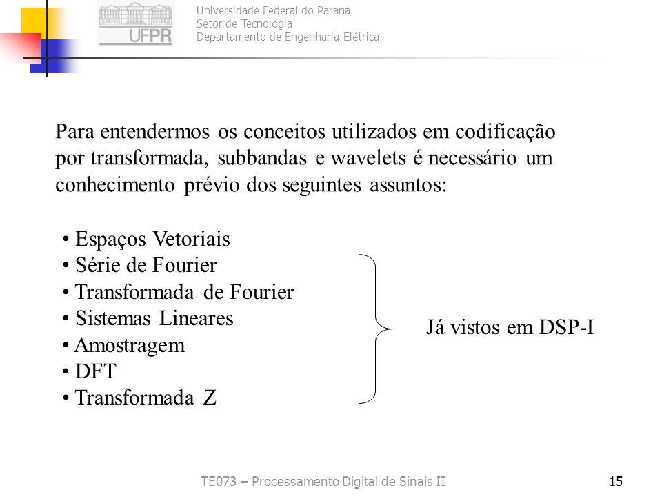 Universidade Federal do Paraná Setor de Tecnologia Departamento de Engenharia Elétrica TE073 – Processamento Digital de Sinais II15 Para entendermos o