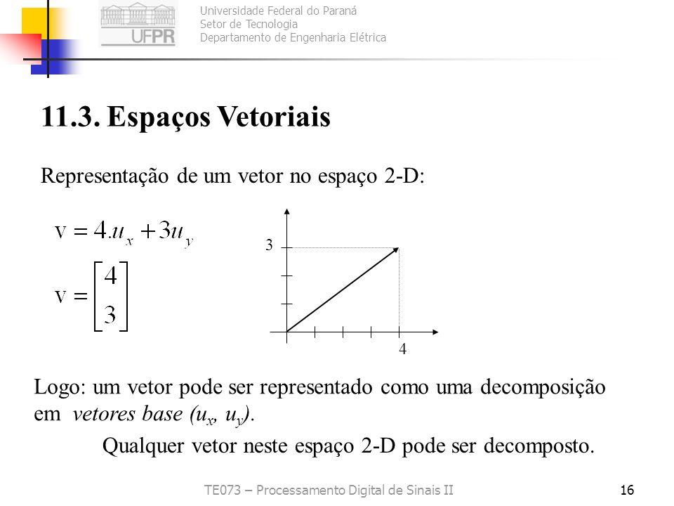 Universidade Federal do Paraná Setor de Tecnologia Departamento de Engenharia Elétrica TE073 – Processamento Digital de Sinais II16 11.3. Espaços Veto
