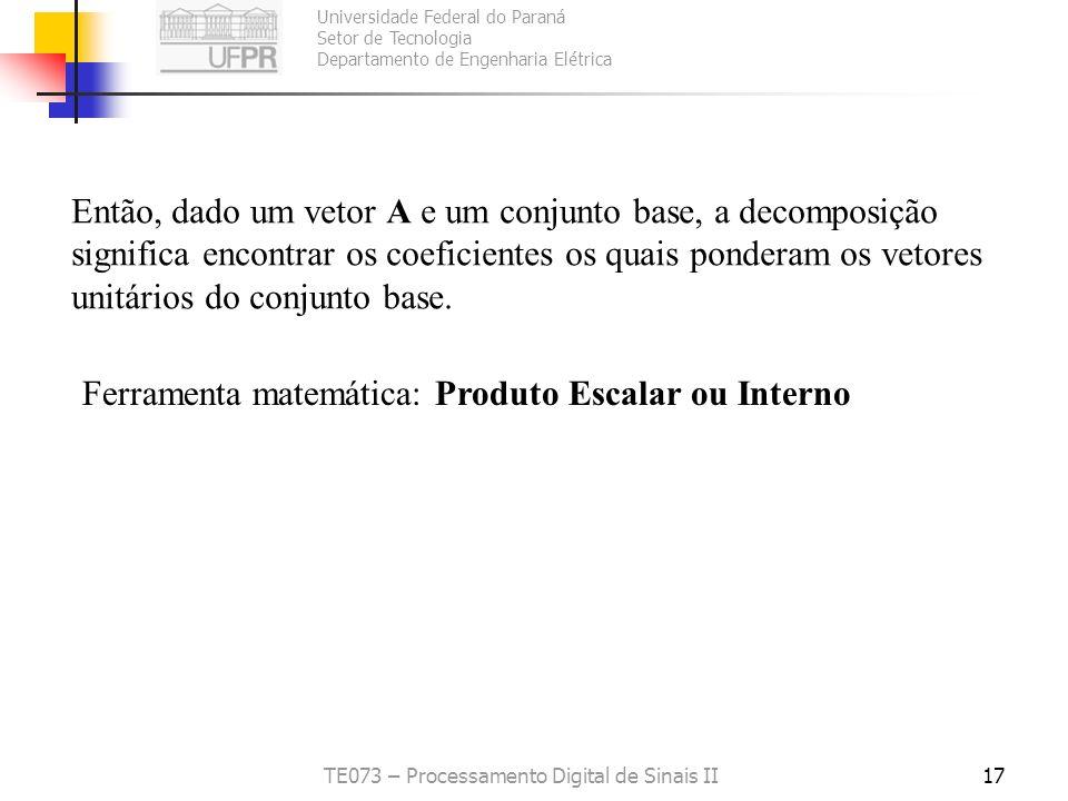 Universidade Federal do Paraná Setor de Tecnologia Departamento de Engenharia Elétrica TE073 – Processamento Digital de Sinais II17 Então, dado um vet