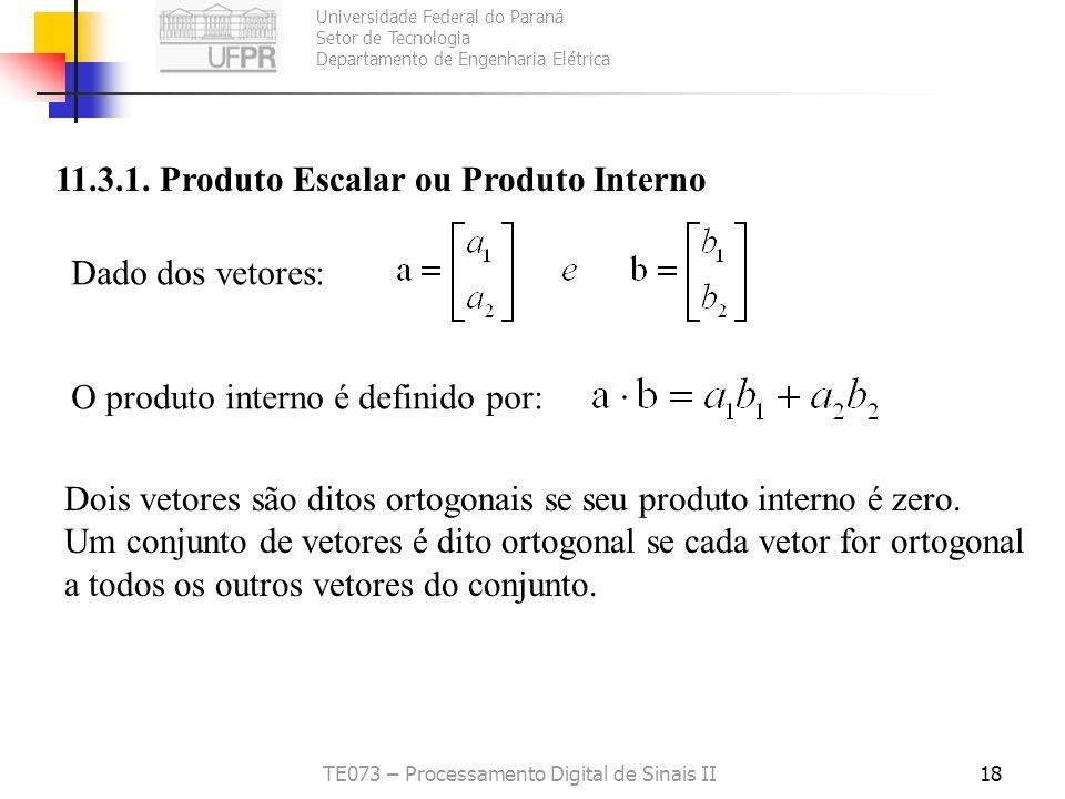 Universidade Federal do Paraná Setor de Tecnologia Departamento de Engenharia Elétrica TE073 – Processamento Digital de Sinais II18 11.3.1. Produto Es
