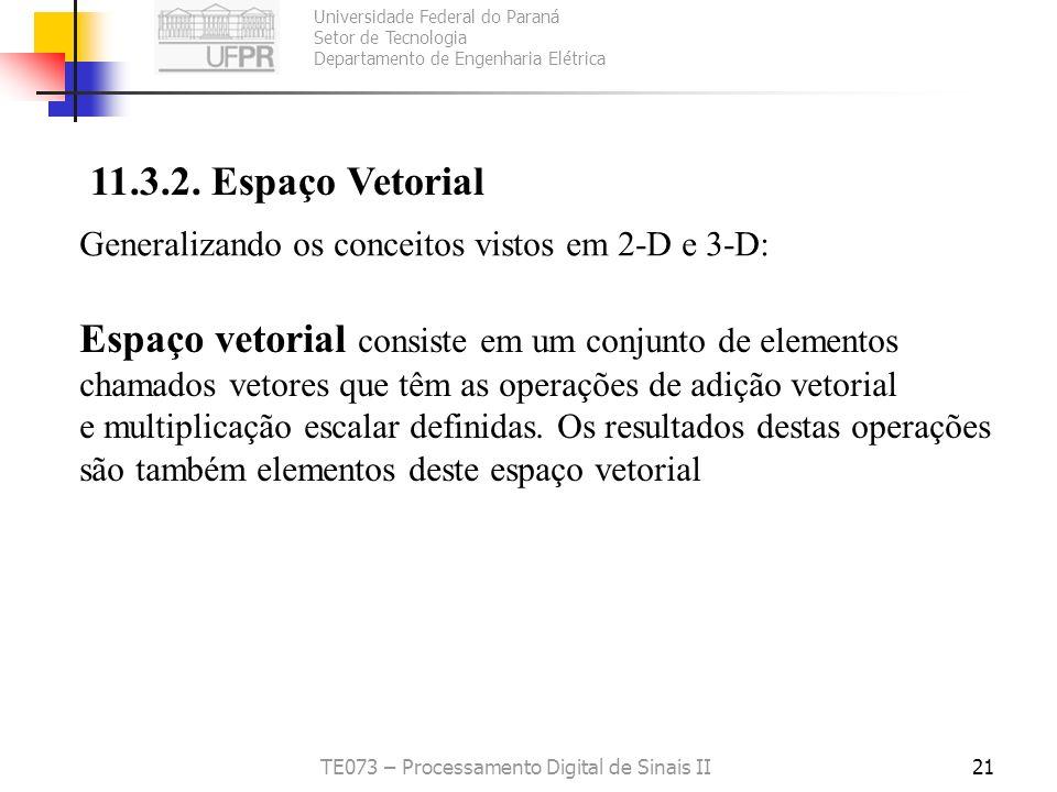 Universidade Federal do Paraná Setor de Tecnologia Departamento de Engenharia Elétrica TE073 – Processamento Digital de Sinais II21 11.3.2. Espaço Vet
