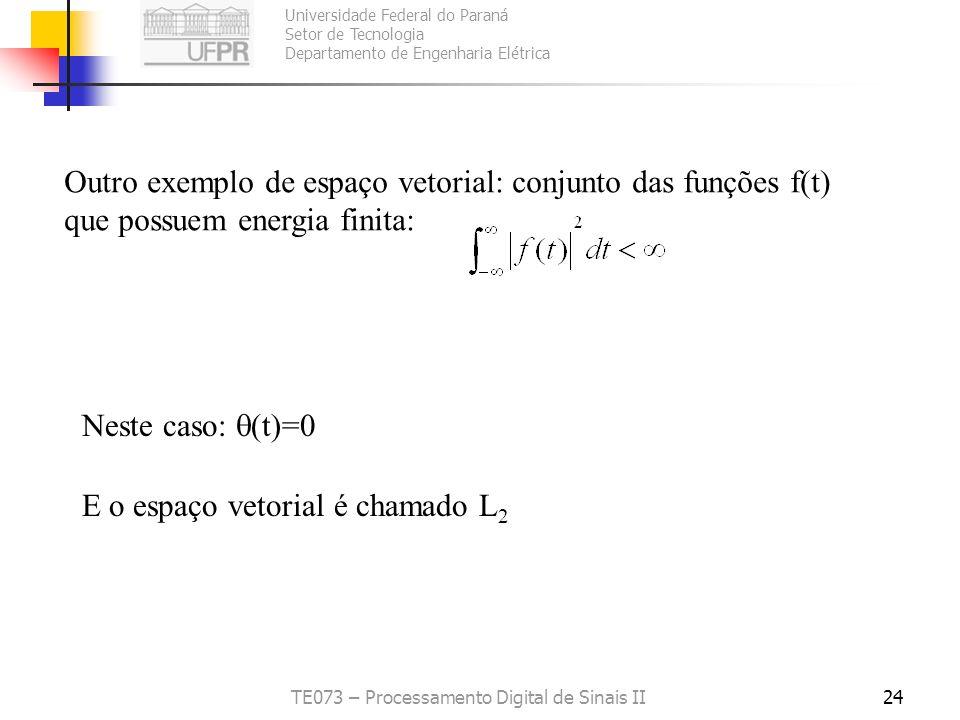 Universidade Federal do Paraná Setor de Tecnologia Departamento de Engenharia Elétrica TE073 – Processamento Digital de Sinais II24 Outro exemplo de e