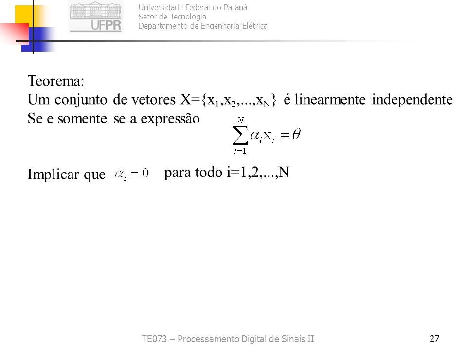 Universidade Federal do Paraná Setor de Tecnologia Departamento de Engenharia Elétrica TE073 – Processamento Digital de Sinais II27 Teorema: Um conjun