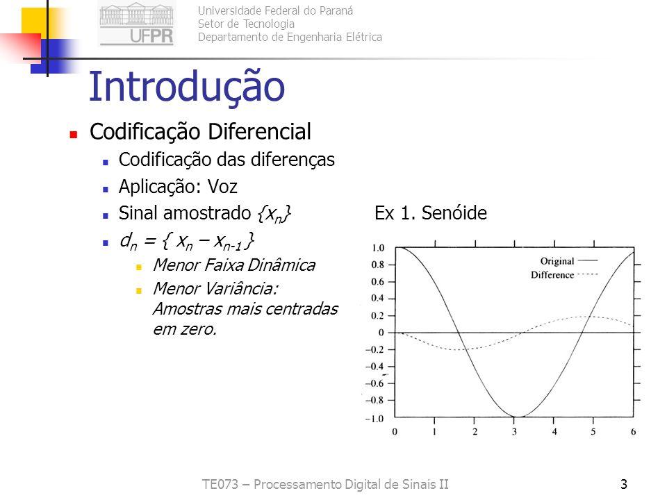 Universidade Federal do Paraná Setor de Tecnologia Departamento de Engenharia Elétrica TE073 – Processamento Digital de Sinais II3 Introdução Codifica