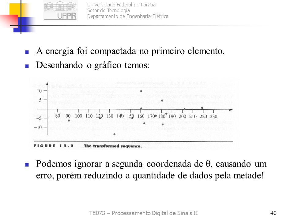 Universidade Federal do Paraná Setor de Tecnologia Departamento de Engenharia Elétrica TE073 – Processamento Digital de Sinais II40 A energia foi comp