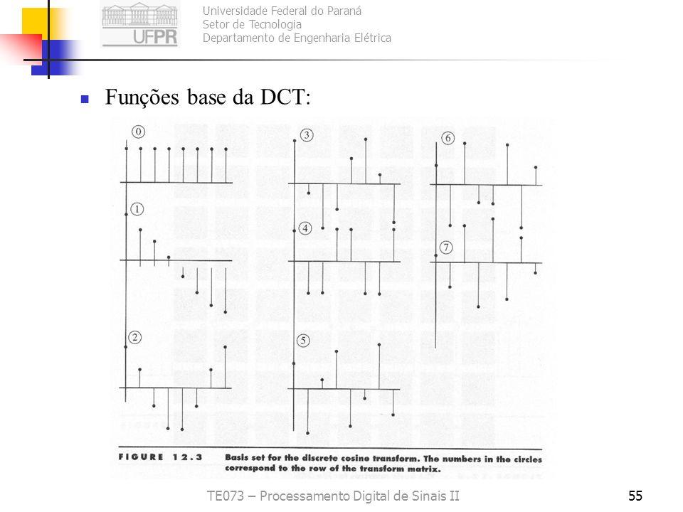 Universidade Federal do Paraná Setor de Tecnologia Departamento de Engenharia Elétrica TE073 – Processamento Digital de Sinais II55 Funções base da DC