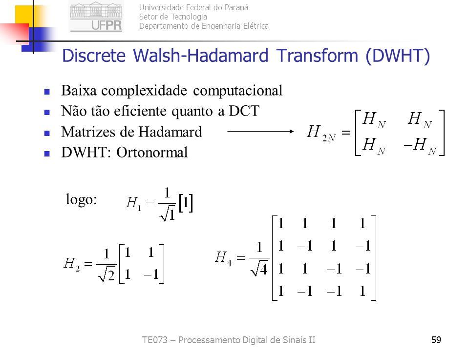 Universidade Federal do Paraná Setor de Tecnologia Departamento de Engenharia Elétrica TE073 – Processamento Digital de Sinais II59 Discrete Walsh-Had