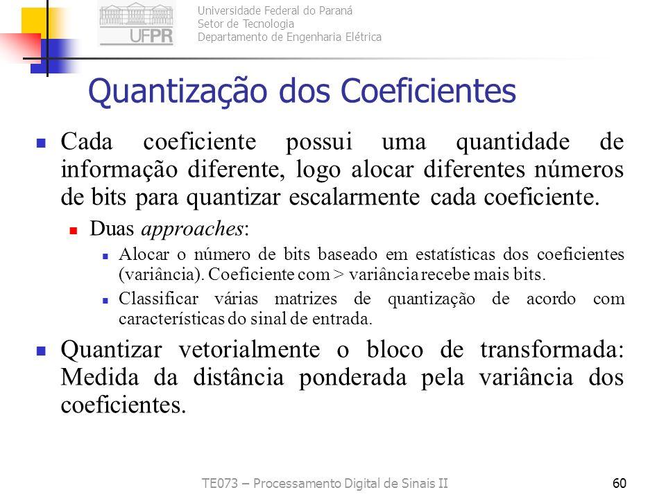 Universidade Federal do Paraná Setor de Tecnologia Departamento de Engenharia Elétrica TE073 – Processamento Digital de Sinais II60 Quantização dos Co
