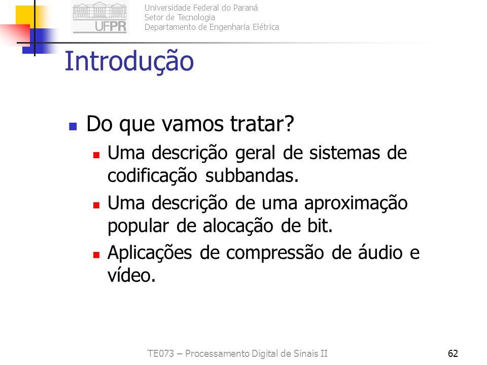 Universidade Federal do Paraná Setor de Tecnologia Departamento de Engenharia Elétrica TE073 – Processamento Digital de Sinais II62 Introdução Do que