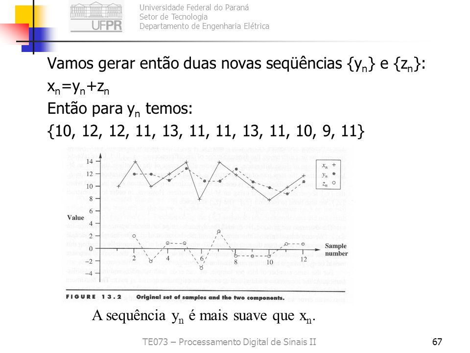 Universidade Federal do Paraná Setor de Tecnologia Departamento de Engenharia Elétrica TE073 – Processamento Digital de Sinais II67 Vamos gerar então