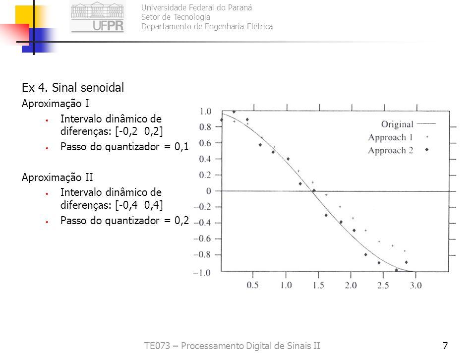 Universidade Federal do Paraná Setor de Tecnologia Departamento de Engenharia Elétrica TE073 – Processamento Digital de Sinais II7 Ex 4. Sinal senoida