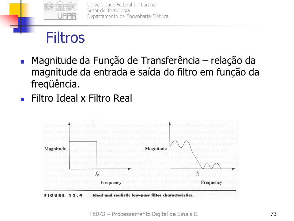 Universidade Federal do Paraná Setor de Tecnologia Departamento de Engenharia Elétrica TE073 – Processamento Digital de Sinais II73 Filtros Magnitude